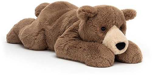 Jellycat Woody Ours Couché - H: 20cm x W: 65cm